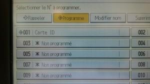 Ricoh - Programmation - programme enregistré